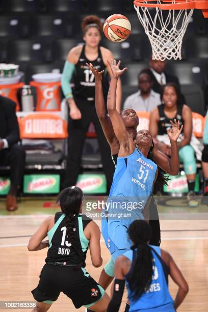 Jessica Breland of the Atlanta Dream shoots the ball against the New York Liberty on July 19 2018 at McCamish Pavilion in Atlanta Georgia NOTE TO...