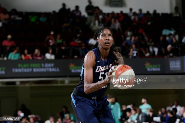 Jessica Breland of the Atlanta Dream shoots the ball against the New York Liberty on June 19 2018 at Westchester County Center in White Plains New...