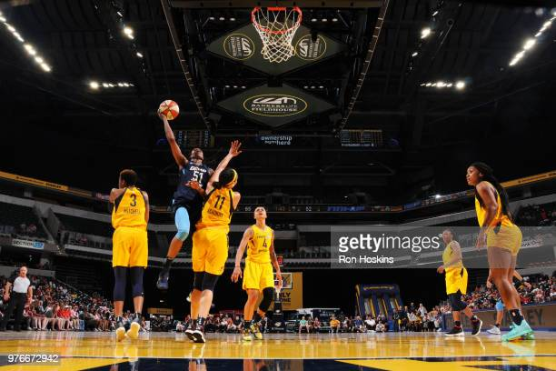 Jessica Breland of the Atlanta Dream shoots the ball against the Indiana Fever on June 16 2018 at Bankers Life Fieldhouse in Indianapolis Indiana...