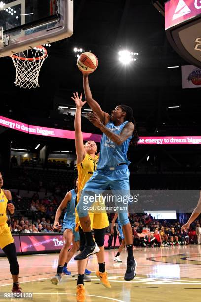Jessica Breland of the Atlanta Dream shoots the ball during the game against the Indiana Fever on July 13 2018 at McCamish Pavilion in Atlanta...