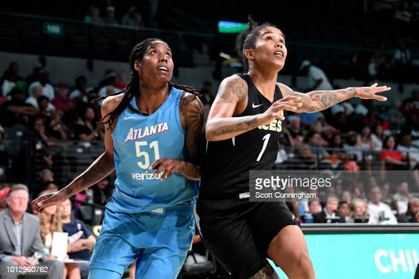 Jessica Breland of the Atlanta Dream Tamera Young of the Las Vegas Aces are seen during the game of Las Vegas Aces v Atlanta Dream on August 07 2018...