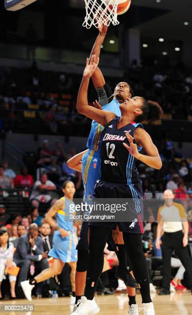 Jessica Breland of the Chicago Sky shoots the ball against Damiris Dantas of the Atlanta Dream on June 23 2017 at Hank McCamish Pavilion in Atlanta...