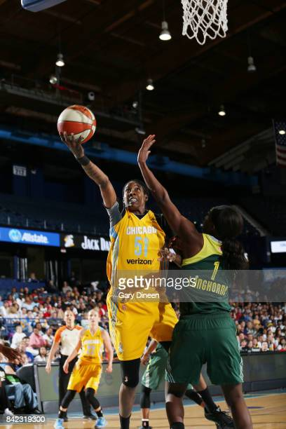 Jessica Breland of the Chicago Sky shoots the ball against the Seattle Storm on September 3 2017 at Allstate Arena in Rosemont IL NOTE TO USER User...