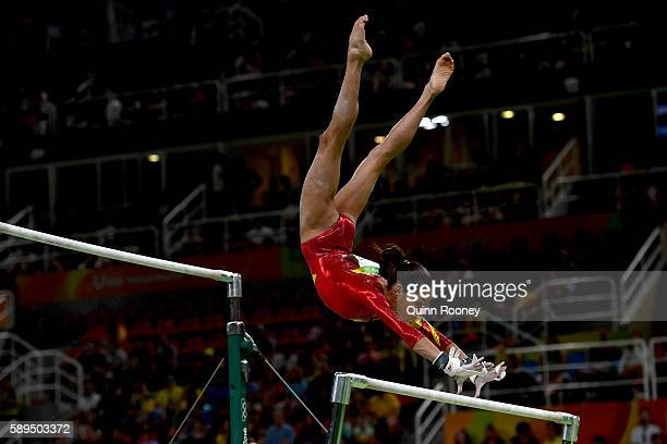 Jessica Brizeida Lopez Arocha of Venezuela competes in the Women's Uneven Bars Final on Day 9 of the Rio 2016 Olympic Games at the Rio Olympic Arena...