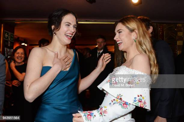 "Jessica Brown Findlay and Lily James attend the World Premiere of ""The Guernsey Literary And Potato Peel Pie Society"" at The Curzon Mayfair on April..."