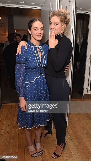 Jessica Brown Findlay and Vanessa Kirby attend the press night after party for 'Uncle Vanya' at The Almeida Theatre on February 12 2016 in London...