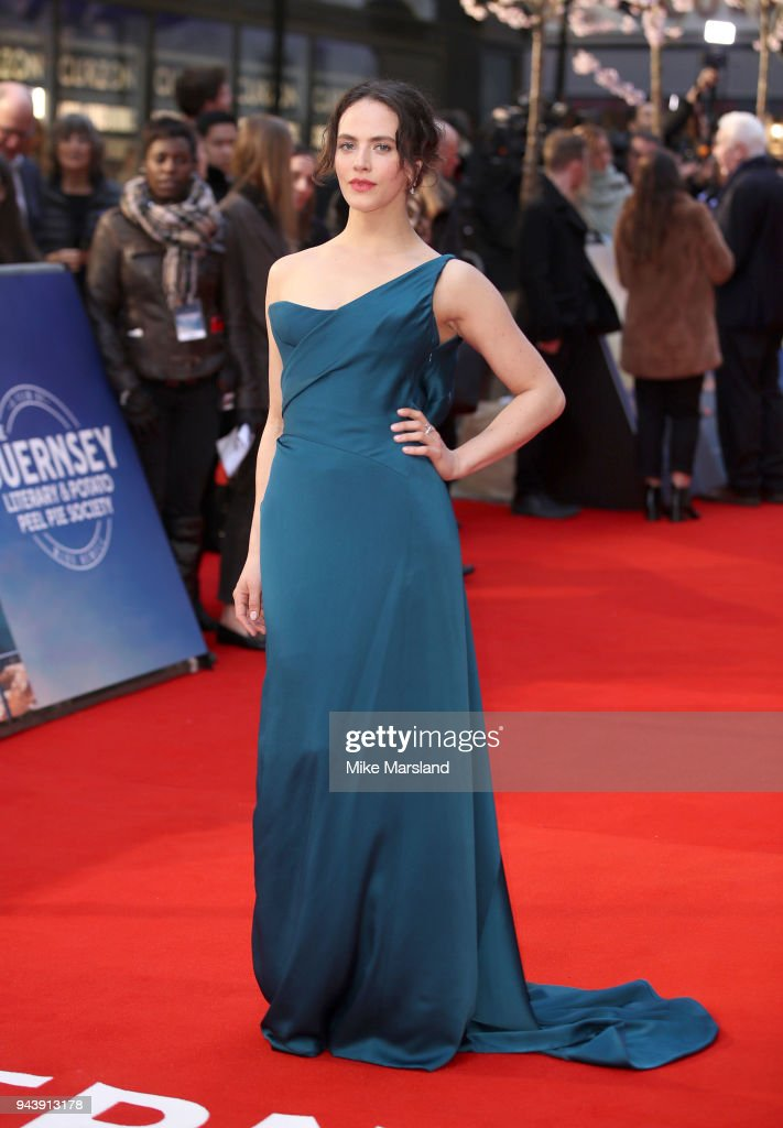 Jessica Brown Findlay attends 'The Guernsey Literary And Potato Peel Pie Society' World Premiere at The Curzon Mayfair on April 9, 2018 in London, England.