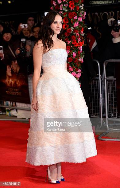 Jessica Brown Findlay attends the UK Premiere of 'A New York Winter's Tale' at ODEON Kensington on February 13 2014 in London England