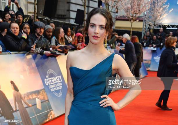Jessica Brown Findlay attends the World Premiere of The Guernsey Literary And Potato Peel Pie Society at The Curzon Mayfair on April 9 2018 in London...