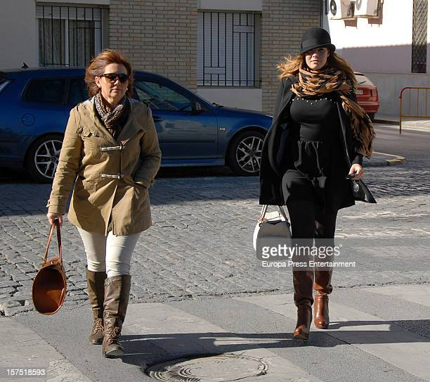 Jessica Bueno and her mother Loli are seen on December 3 2012 in Seville Spain