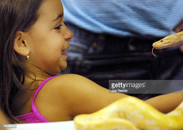 Jessica Burstein, three, reacts to a Albino Burmese Python sticking its tongue out at her August 12, 2001 during the third annual Snake Day at the...