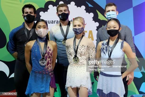 Jessica Calalang and Brian Johnson, Brandon Frazier and Alexa Scimeca Knierim, Audrey Lu and Misha Mitrofanov skate pose with their medals after the...