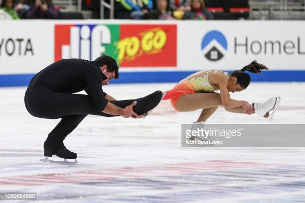 Jessica Calalang and Brian Johnson compete in the championship senior pairs short program during the 2019 Geico US Figure Skating Championships at...