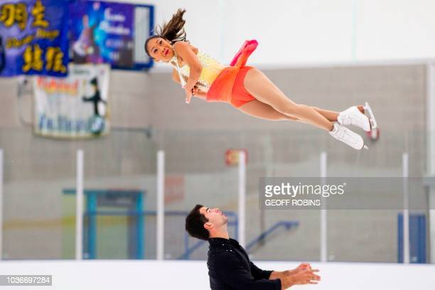 Jessica Calalang and Brian Johnson of the United States skate their short program in the pairs competition at the 2019 Skate Canada Autumn Classic...