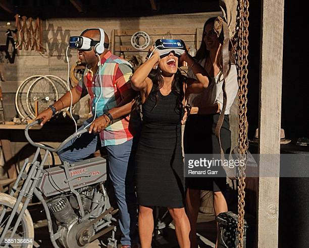 Jessica Camacho trying VR at Petersen Automotive Museum on August 1 2016 in Los Angeles California