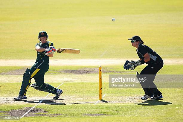 Jessica Cameron of Australia bats during the Women's International Twenty20 match between the Australian Southern Stars and New Zealand at Junction...