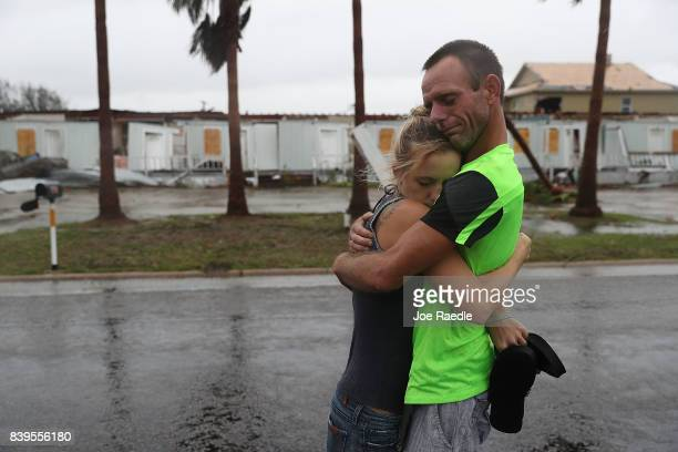 Jessica Campbell hugs Jonathan Fitzgerald after riding out Hurricane Harvey in an apartment on August 26 2017 in Rockport Texas Jessica said is...