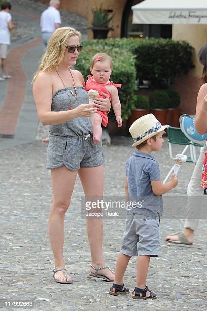 Jessica Capshaw and her children Eve Augusta Gavigan and Luke Hudson Gavigan on July 2 2011 in Portofino Italy