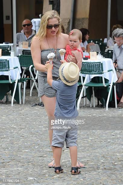 Jessica Capshaw and her children Luke Hudson Gavigan and Eve Augusta Gavigan on July 2 2011 in Portofino Italy