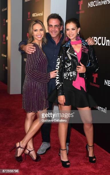 Jessica Carrillo Carlos Ponce and Carolina Miranda at Fontainebleau Hotel on November 9 2017 in Miami Beach Florida