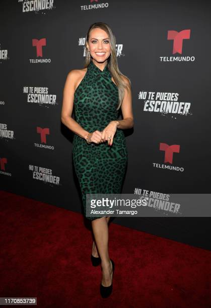 """Jessica Carrillo is seen on the red carpet during the """"No Te Puedes Esconder"""" premiere at Telemundo Center on September 24, 2019 in Doral, Florida."""