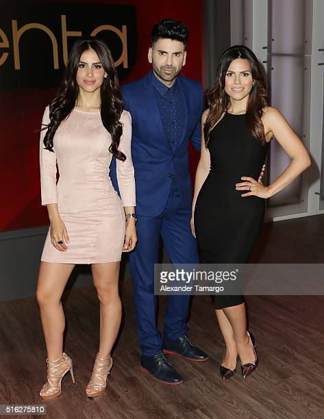 Jessica Cediel Jomari Goyso and Karina Banda are seen on the set of 'Sal y Pimienta' at Univision Studios on March 17 2016 in Miami Florida