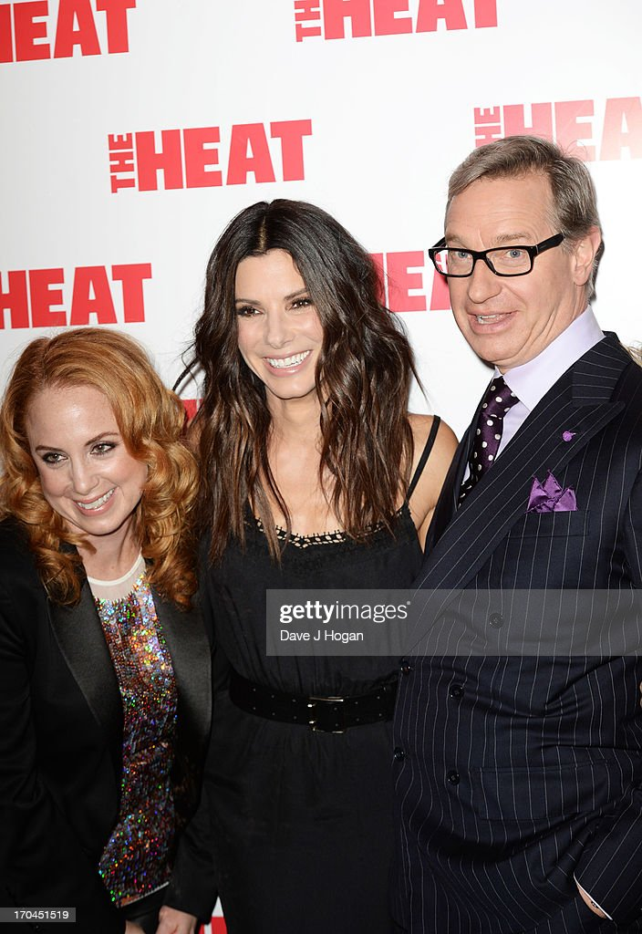 Jessica Chaffin, Sandra Bullock and Paul Feig attend a gala screening of 'The Heat' at The Curzon Mayfair on June 13, 2013 in London, England.