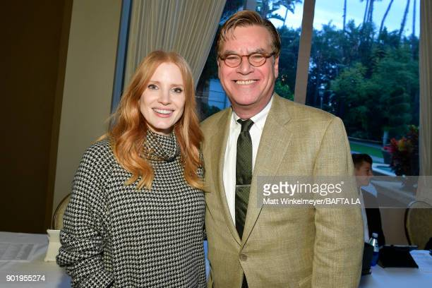 Jessica Chastain and Aaron Sorkin attend The BAFTA Los Angeles Tea Party at Four Seasons Hotel Los Angeles at Beverly Hills on January 6 2018 in Los...