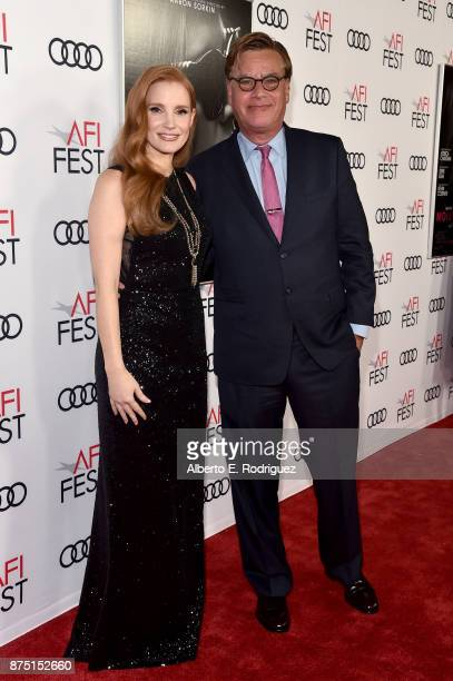 Jessica Chastain and Aaron Sorkin attend the screening of 'Molly's Game' at the Closing Night Gala at AFI FEST 2017 Presented By Audi at TCL Chinese...
