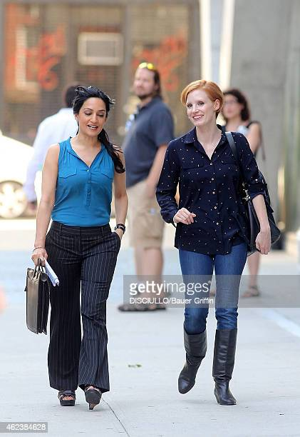 Jessica Chastain and Archie Panjabi are seen filming a scene for 'The Disappearance of Eleanor Rigby' on August 06 2012 in New York City