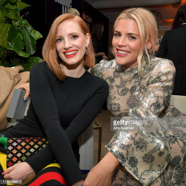 Jessica Chastain and Busy Philipps are seen as Marie Claire honors Hollywood's Change Makers on March 12, 2019 in Los Angeles, California.