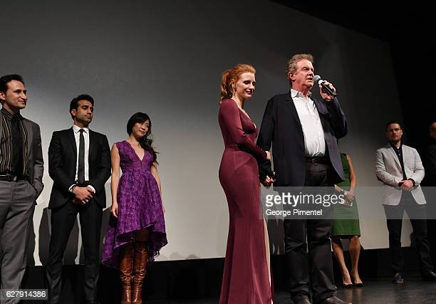 Jessica Chastain and director John Madden introduce Miss Sloane Toronto Premiere held at Isabel Bader Theatre on December 5 2016 in Toronto Canada
