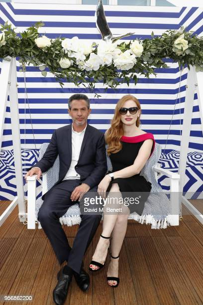 Jessica Chastain and director Simon Kinberg at the '355' cocktail party with DIRECTV and The Hollywood Reporter on the Grey Goose Terrace on May 10...