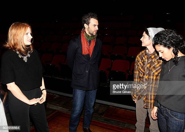 Jessica Chastain and fiancee Gian Luca Passi de Preposulo backstage at the Tony Award Winning Musical 'Fun/Home' on Broadway at The Circle in The...