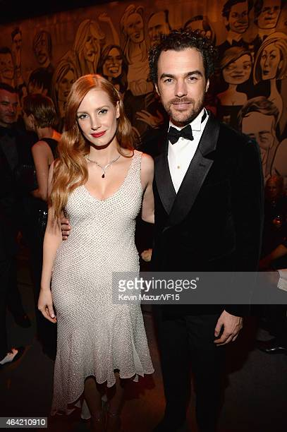 Jessica Chastain and Gian Luca Passi de Preposulo attend the 2015 Vanity Fair Oscar Party hosted by Graydon Carter at the Wallis Annenberg Center for...