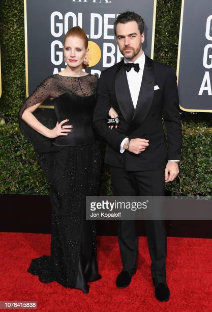 Jessica Chastain and Gian Luca Passi de Preposulo attend the 76th Annual Golden Globe Awards at The Beverly Hilton Hotel on January 6, 2019 in...