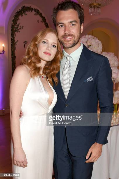 Jessica Chastain and Gian Luca Passi de Preposulo attend the Vanity Fair and HBO Dinner celebrating the Cannes Film Festival at Hotel du CapEdenRoc...