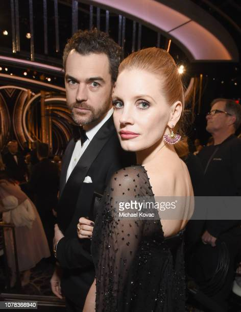 Jessica Chastain and Gian Luca Passi de Preposulo attends Moet Chandon at The 76th Annual Golden Globe Awards at The Beverly Hilton Hotel on January...