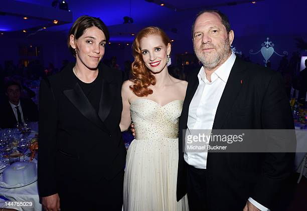 Jessica Chastain and Harvey Weinstein attend the Haiti Carnival in Cannes Benefitting J/P HRO Artists for Peace and Justice Happy Hearts Fund...