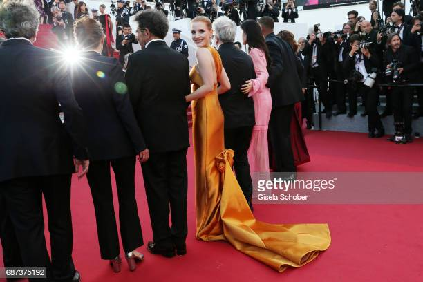 Jessica Chastain and her fellow jury members attend the 70th Anniversary of the 70th annual Cannes Film Festival at Palais des Festivals on May 23...