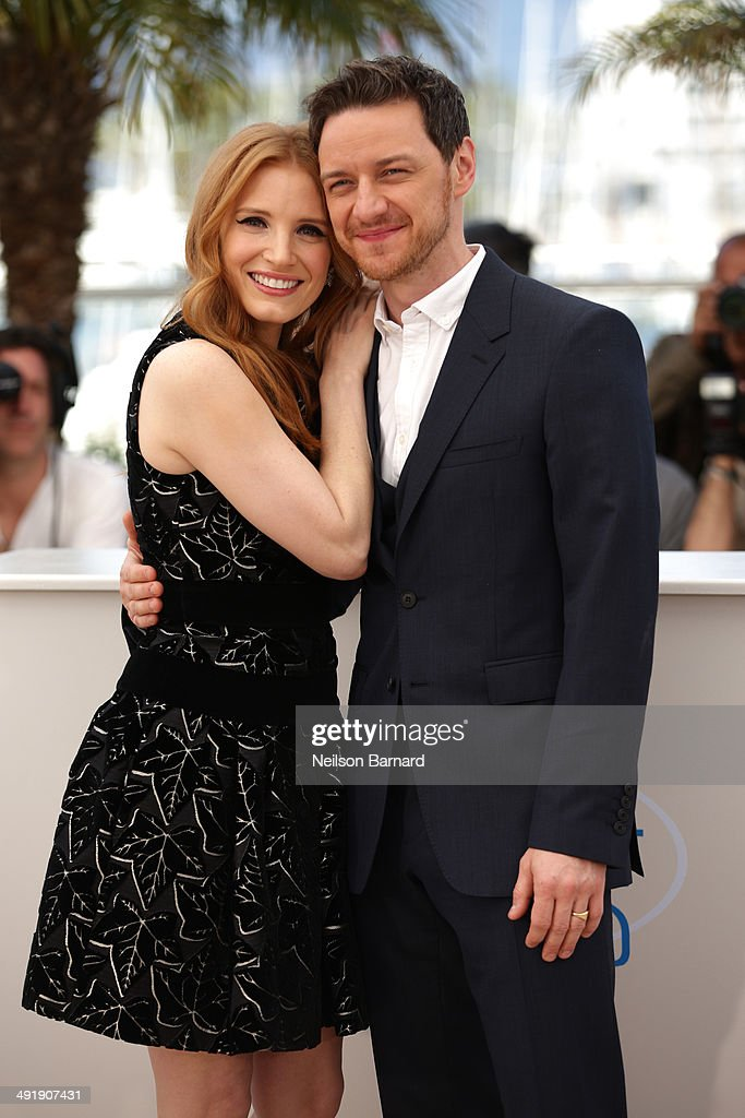 Jessica Chastain and James McAvoy attend 'The Disappearance of Eleanor Rigby' photocall at the 67th Annual Cannes Film Festival on May 18, 2014 in Cannes, France.