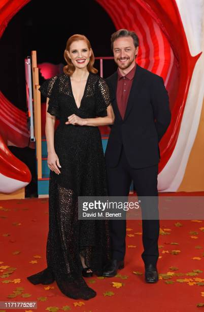 Jessica Chastain and James McAvoy attend the European Premiere of IT Chapter Two at The Vaults Waterloo on September 02 2019 in London England