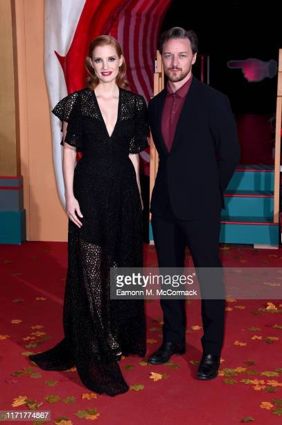 Jessica Chastain and James McAvoy attend the IT Chapter Two European Premiere at The Vaults on September 02 2019 in London England