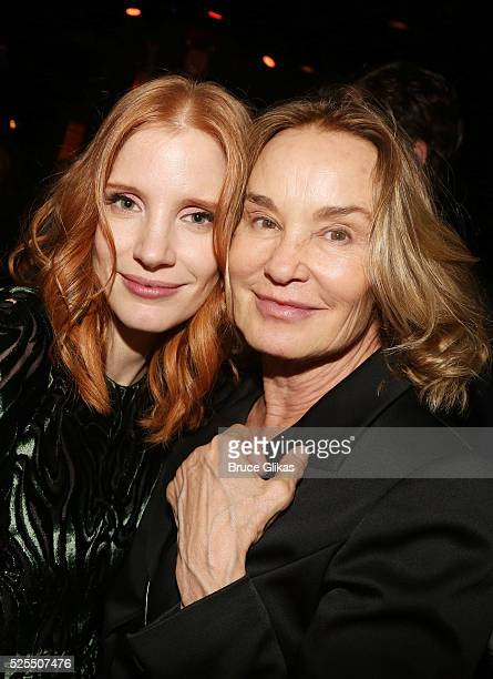 Jessica Chastain and Jessica Lange pose at the Opening Night celebration for the revival of A Long Days Journey Into the Night at BB Kings Blues Club...