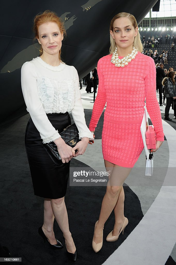 Jessica Chastain and Leigh Lezark attend the Chanel Fall/Winter 2013 Ready-to-Wear show as part of Paris Fashion Week at Grand Palais on March 5, 2013 in Paris, France.