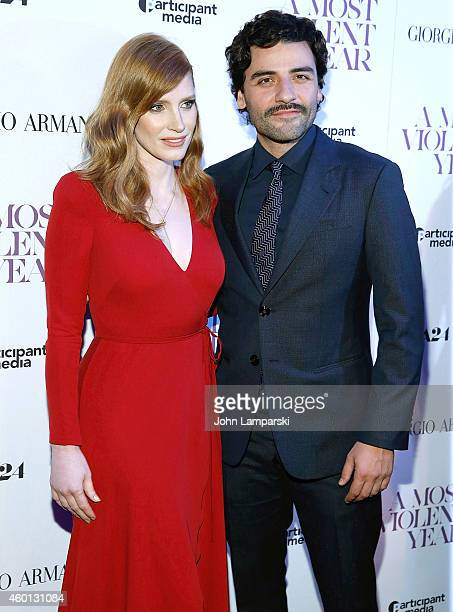 Jessica Chastain and Oscar Isaac attend 'A Most Violent Year' New York Premiere at Florence Gould Hall on December 7 2014 in New York City