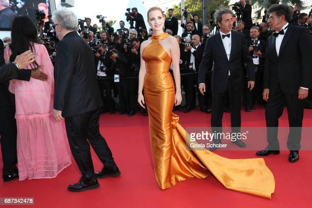 Jessica Chastain and Paolo Sorrentino attend the 70th Anniversary of the 70th annual Cannes Film Festival at Palais des Festivals on May 23 2017 in...