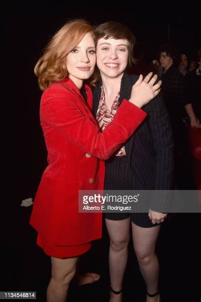 "Jessica Chastain and Sophia Lillis pose backstage at CinemaCon 2019 Warner Bros Pictures Invites You to ""The Big Picture"" an Exclusive Presentation..."