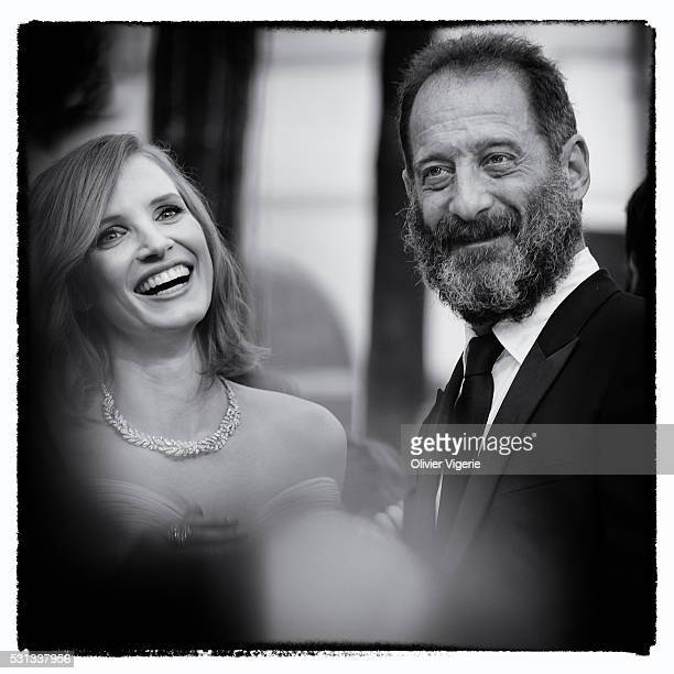 Jessica Chastain and Vincent Lindon attend the 'Cafe Society' premiere and the Opening Night Gala during the 69th annual Cannes Film Festival at the...