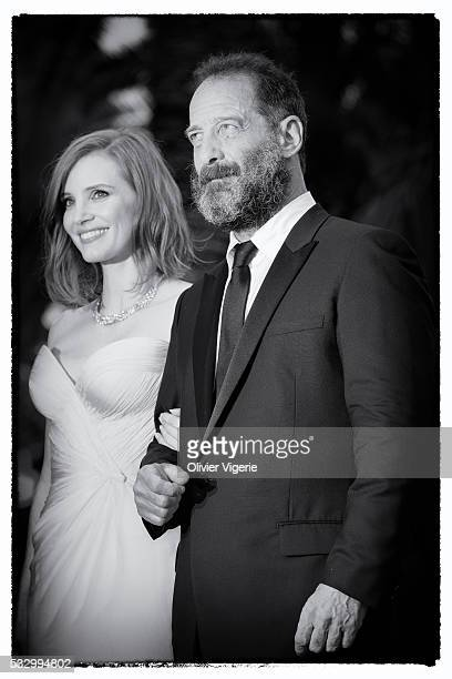Jessica Chastain and Vincent Lindon attends the 'Cafe Society' premiere during the 69th annual Cannes Film Festival on may 12th 2016 in Cannes